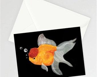 Oranda fancy goldfish A6 card (black background)