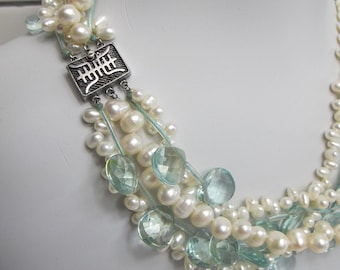 Faux Freshwater pearl and aquamarine glass bead necklace.