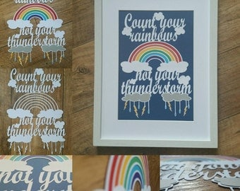 Count your rainbows, not your thunderstorm handcut papercut framed