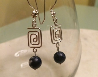 Sodalite + silver earrings