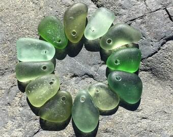 Beach Glass, Top Drilled, Seaglass, Genuine, Charms, Real, Beach Gypsy Soul, Beach Charms, green grass