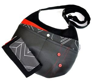 Bag «ZIGZAG» black red polyester and polyurethane - Black-red