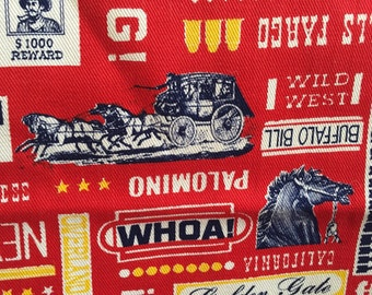 Vintage Red Retro Cowboy Western Fabric - Guns, Horses, Stage Coach