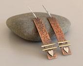 Mixed Metal Earrings, Copper Brass Silver Earrings, Artisan earrings, Rectangular Dangle Earrings, Rustic Earrings, Metalsmith Earrings