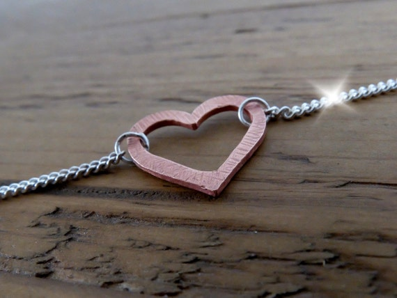 Silver and Copper Anklet, Silver Anklet With Copper Heart, Ankle Bracelet With Copper Heart, Seventh 7th Wedding Anniversary, Ankle Bracelet