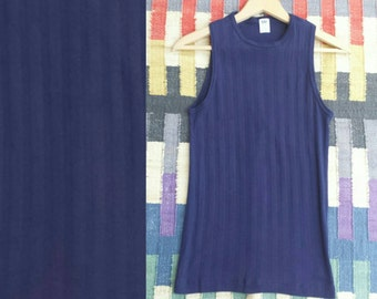 70s Vintage Navy Blue Basic Long Tank Top 80s Minimalist Thin Athletic Ribbed Cotton Sleeveless Shirt Solid Womens Small Summer Work out