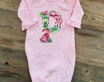 Personalized girls newborn gown