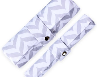 Diaper Changing Pad & Mat Duo - Waterproof, Wipeable, Washable - GREY CHEVRON