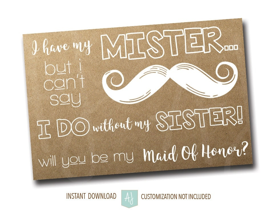 Maid Of Honor Ask Card For The Sister-Rustic Style For The