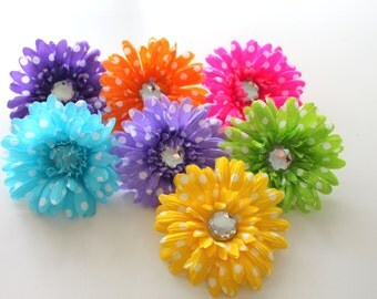 "Polka Dot Gerbera Daisies,4"" Gerber Daisy, Flower head supply, Crafts, DIY"