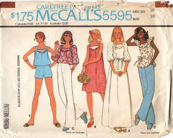Vintage 1977 McCall's Sewing Pattern 5595 Dress or Top and Shorts Misses' Size 16 UNCUT