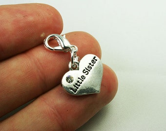 Little Sister Heart Charm. Silver Charm for Sisters. Heart Keychain Charm. SCC536