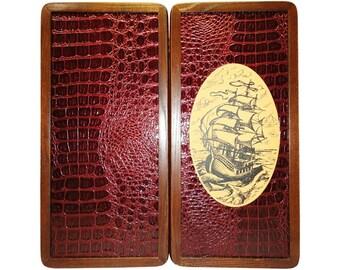 Handmade Carved Wooden Backgammon Board Game Set Ship