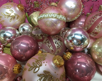 Vintage Christmas Ornament Chic Pink Lot of 25
