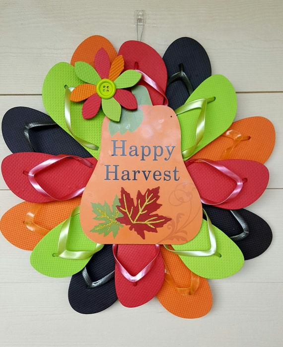 fall happy harvest handmade flip flop wreath wall door decor. Black Bedroom Furniture Sets. Home Design Ideas