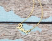 Tiny  Gold Color Love Pendent Necklace, Gold  Love Necklace, Small Love Charm Necklace, Holiday Gift,Bridesmaid Gift , Flower Girl Necklace