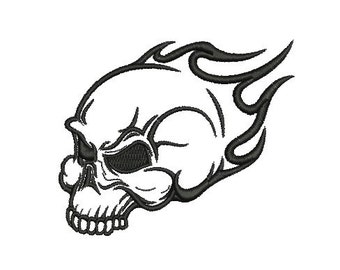 flaming skull embroidery design