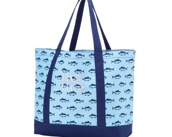 Tote Bag in Fin Design. Shopping Tote.  Great Gift. Large size for beach items, books, teacher supplies, baby tote.  Free Monogram!