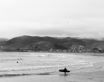 Black and White Surf Photography Beach Photography Central Coast Morro Bay Ocean Surfer Fine Art Photo Print Mountains California Coastal