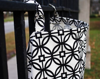 Elegant Black and White Geometric Pattern Nursing Cover. 100% Cotton. (Breastfeeding Cover)