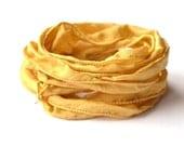 Hand dyed Silk Ribbon for bracelet necklace gold color