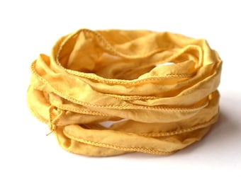 Hand dyed Silk Ribbon for bracelet necklace gold color