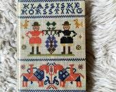Vintage denmark cross stitch instruction book novelty shelf collectible scandinavian home decor gertie wandel 1971