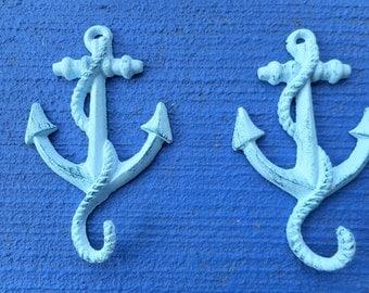 2 cast iron anchor hooks / beach decor / nautical decor