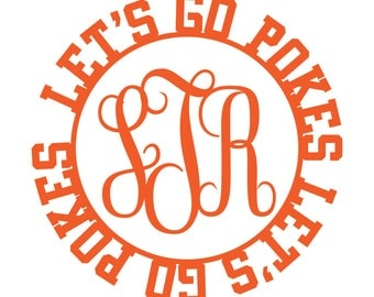 Go Pokes Cursive Monogram Decal
