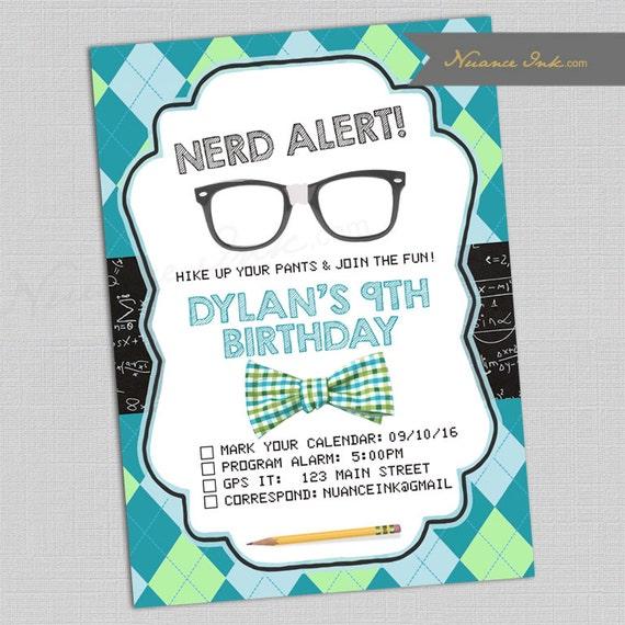 Nerdy Birthday Party Invitations, birthday, chalkboard, nerd, geek, glasses, bowtie, printed or digital copy
