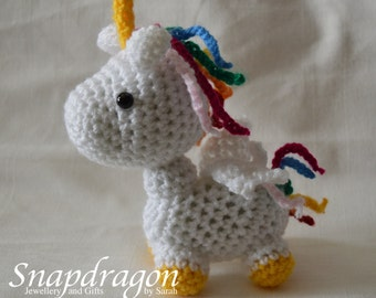 Winged Crochet Unicorn - Made to order so you can customise your colours