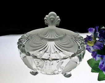 Cambridge Caprice Footed Covered Candy ~ Alpine Crystal