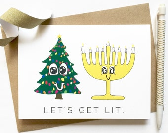 Cards for Christmas and Hanukkah Cards - Let's Get Lit - Funny Hanukkah Card - Funny Christmas Card - Funny Holiday Cards - Holiday Card