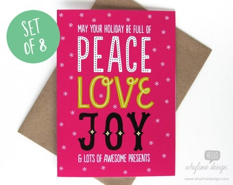 Set of 8 May Your Holiday Be Full of Peace, Love, Joy Christmas Cards