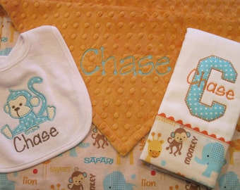 3-piece set - Personalized Lovey Blanket, Bib and Burp Cloth with a fun JUNGLE theme