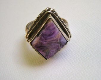 vintage charoite ring in sterling, size 8.25