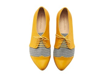 Yellow Pepita oxford leather shoes / Polly Jean flat leather women shoes