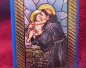 Vintage Saint Anthony and Baby Jesus Standing Picture