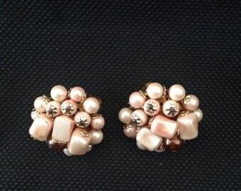 Pink Cluster Bead Earrings