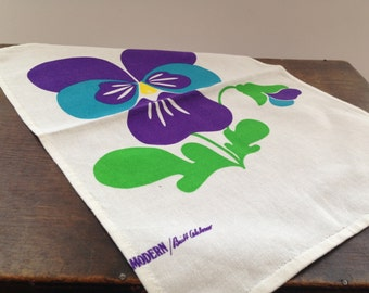 Swedish vintage napkin Mid century design Floral printed napkin with pansy White blue purple green doily
