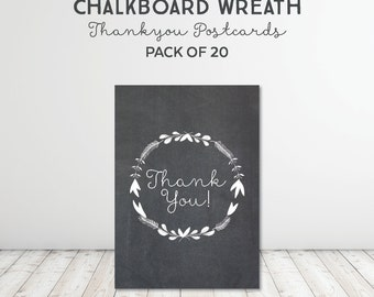 Chalkboard Wreath Thank You Postcards + Envelopes (pack of 20)