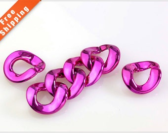 Free Shipping- Dark Pink Chain Links, Acrylic Links, Plastic Links, Open Link, Electro-plated, 30x33mm, Pkg of 50 PCS, L0EG.PI57.P50