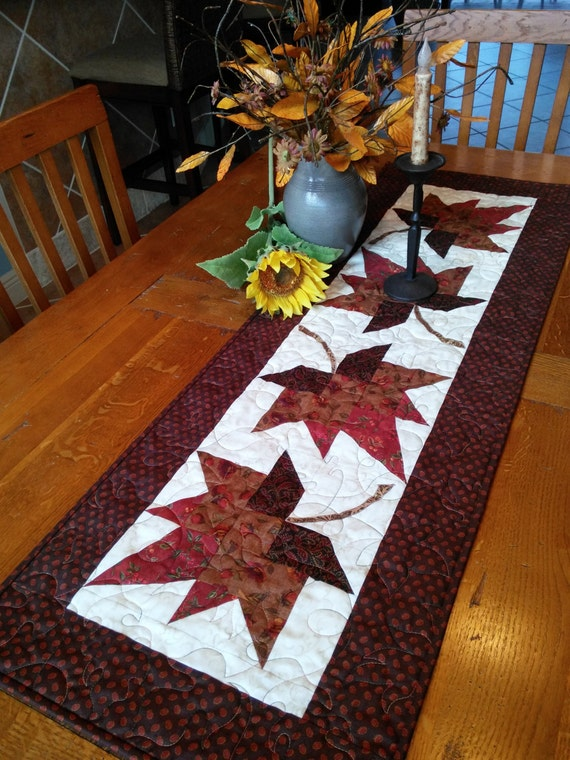 Maple Leaf Quilt Pattern Table Runner : Autumn Maple Leaves Quilted Tablerunner by QuiltedbyTommyD on Etsy