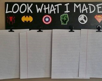 Children, Look What I Made Superheroes Wood Sign, Art Display, Child's Art Work, Kid's Art Hanger, Brag Board,