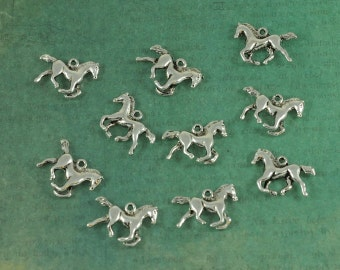 Silver Running Horse Pendant Charm - 3 Dimensional - Package of 10