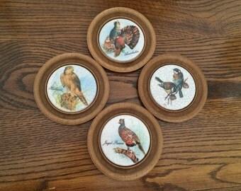 KOZIOL CERAMIC COASTERS - Fowl & Birds - Made in West Germany - Porcelain Ceramic Coasters