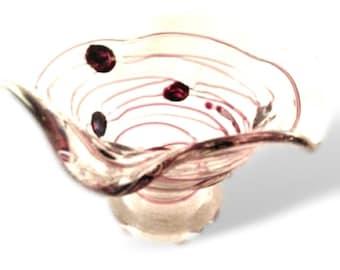 Poschinger Fleur Crystal Art Nouveau Threaded Signed Art Glass Vase Vintage Glass Bowl