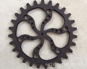 Small Industrial Style- Style 4- Wood Gear Steampunk Sprocket Mechanical Decor Wall hanging Vintage Rustic Wheel Panel Factory Molds