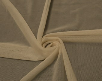 Nude Stretch Power Mesh Fabric By the Yard, Soft Sheer Drape Mesh Fabric, Stretch Mesh Fabric, Performance Mesh Fabric  Style 453