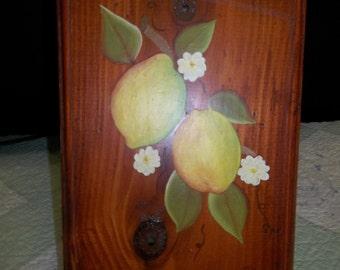 Vintage Handmade Tole Plaque, Lemons on Pine Board, Felt back, S